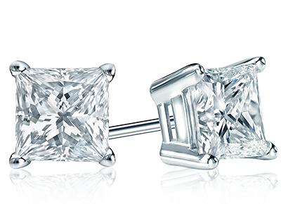 Princess Diamond Span Stud Earrings