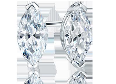 Mens Marquise Diamond Span Stud Earrings
