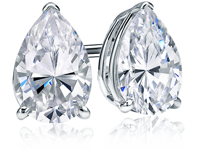 stud solitaire pearshaped diamond earrings shaped pear