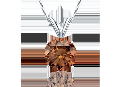 Round Cut Brown  <span>Diamond Pendants</span>