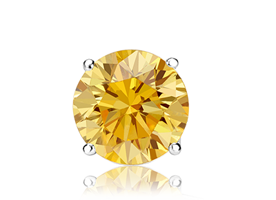 Single Round Yellow <span>Color Diamond Studs</span>