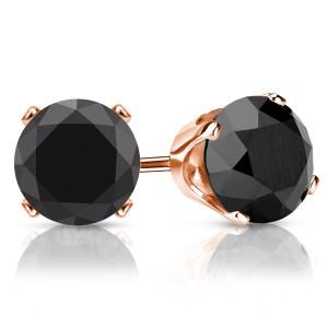 Black Diamond Studs in Rose Gold