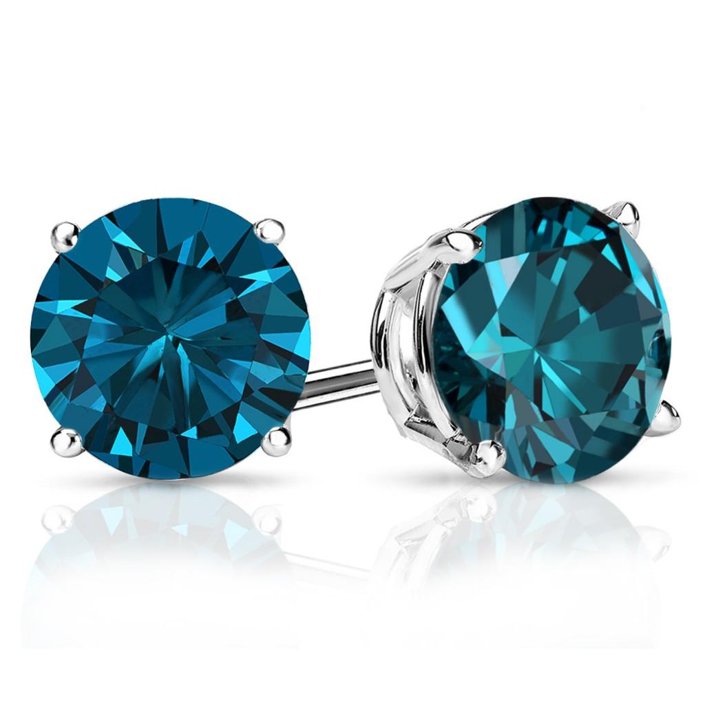 1 carat blue diamond stud earrings