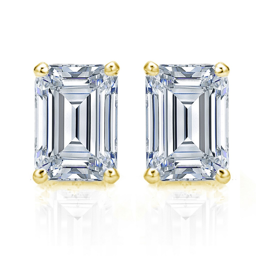 Emerald Cut Diamond Stud Earrings Check Out These 1 Carat