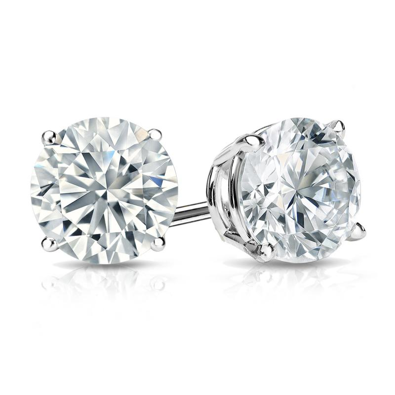 4 G Basket Diamond Studs In 14k White Gold