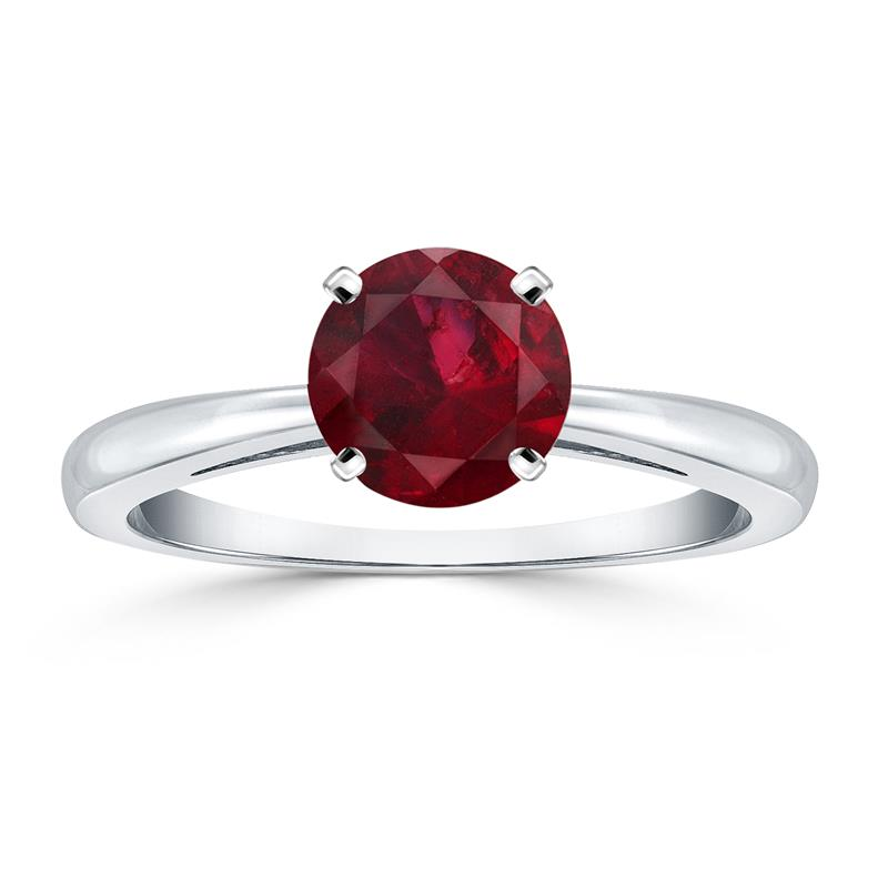 A one carat solitaire ruby ring in 14k white gold.