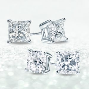 Princess Cut vs. Cushion Cut Diamond Studs