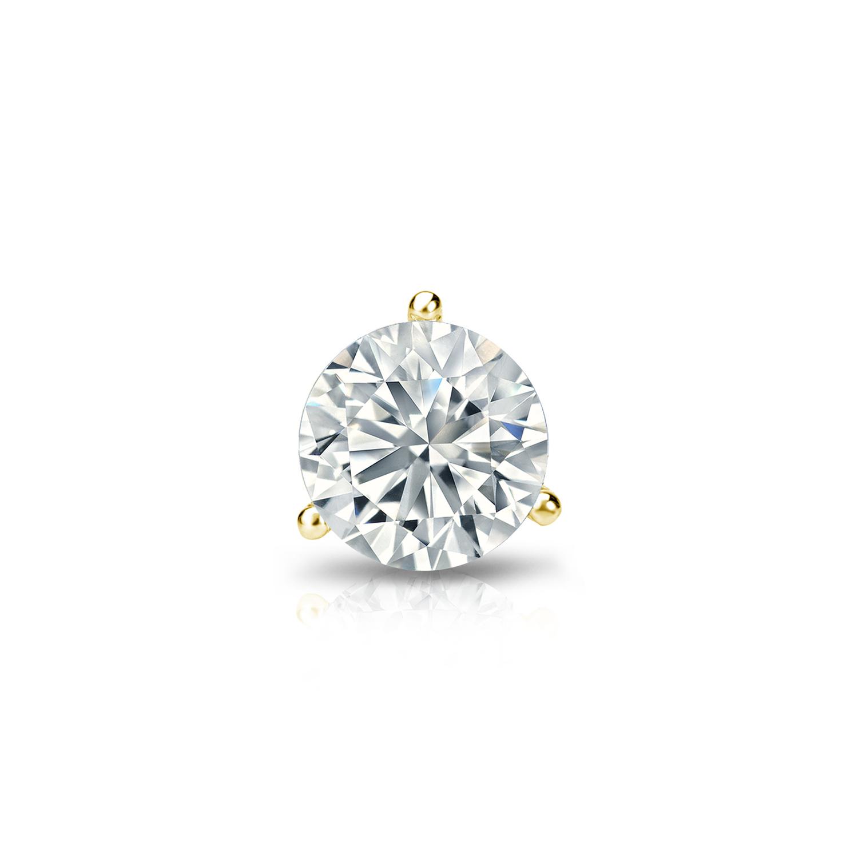 Diamond Wish 14k Gold 3-Prong Martini Round Diamond SINGLE STUD Earring (1/8 - 1 ct, G-H, SI2-I1)