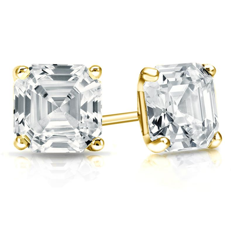 ae6ce7f6b Certified 14k Yellow Gold 4-Prong Martini Asscher Cut Diamond Stud Earrings  2.00 ct. tw. (G-H, SI1) - DiamondStuds.com