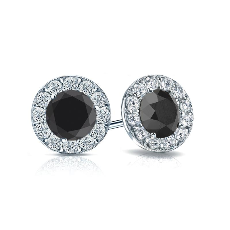 gold with w stud halo diamond black white earrings