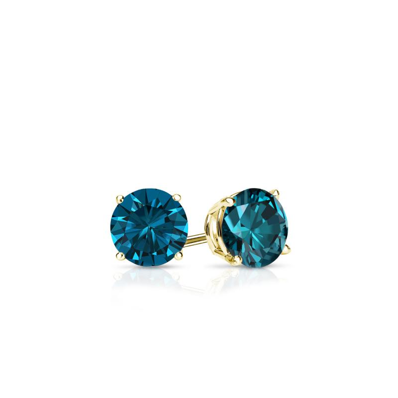 Certified 14k Yellow Gold 4 G Basket Round Blue Diamond Stud Earrings 0 25 Ct Tw I1 I2 Diamondstuds