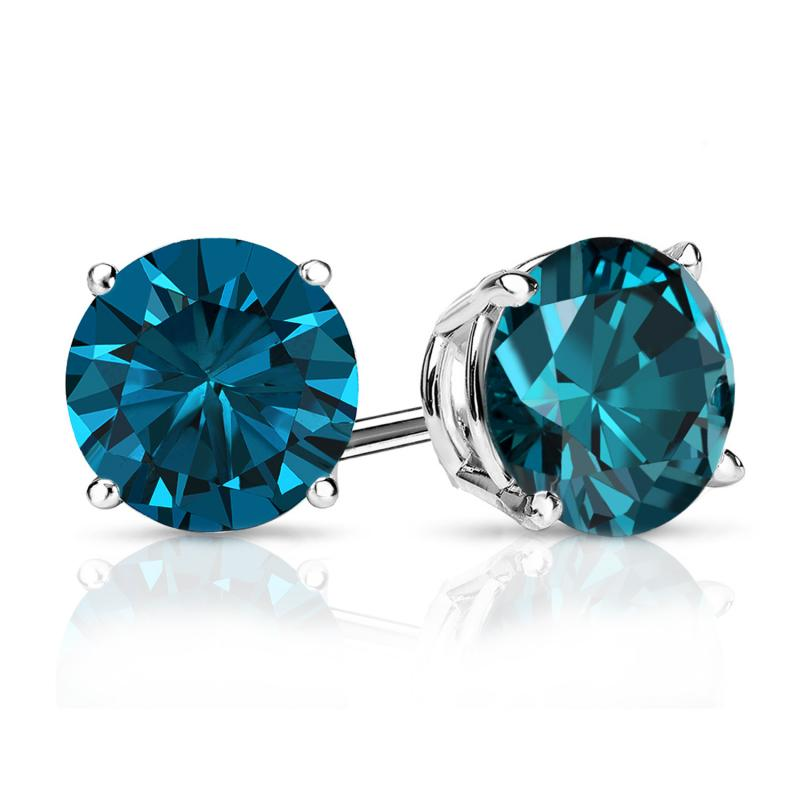 Certified 14k White Gold 4 G Basket Round Blue Diamond Stud Earrings 1 50 Ct Tw I1 I2 Diamondstuds