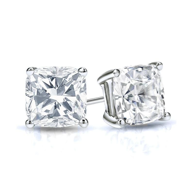 Certified Platinum 4 G Basket Cushion Cut Diamond Stud Earrings 1 00 Ct Tw H Vs2