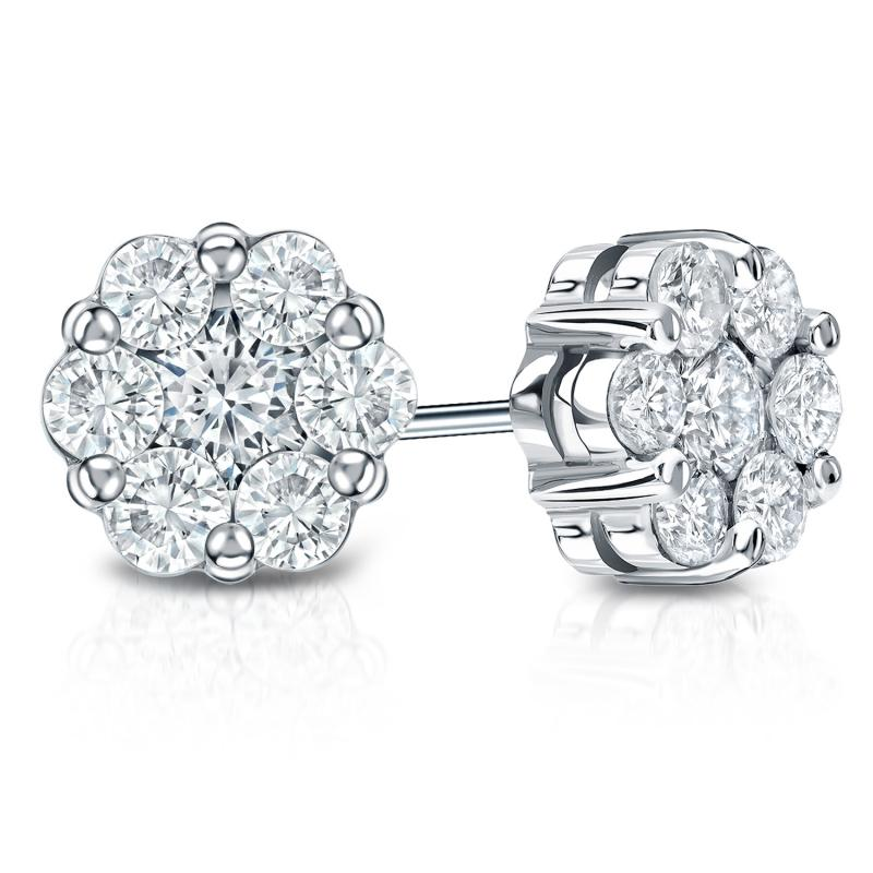 14k White Gold G Set Cer Round Diamond Earring 0 75 Ct Tw H Si1 Diamondstuds