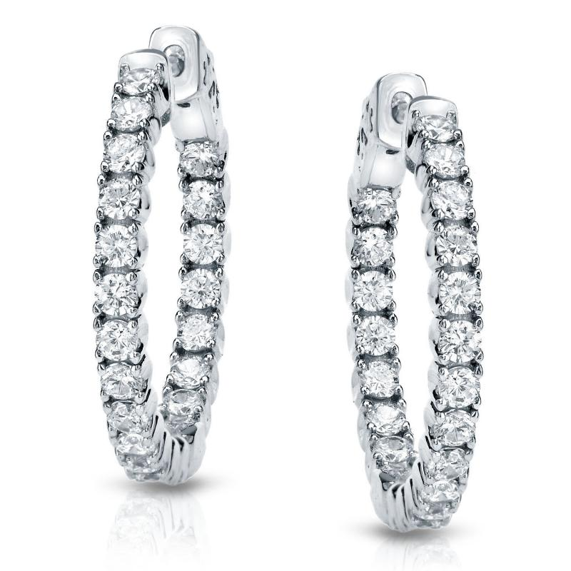 14k White Gold 0 50 Inch 4 G Setting Round Diamond Hoop Earrings Ct Tw H I Si1 Si2 Diamondstuds