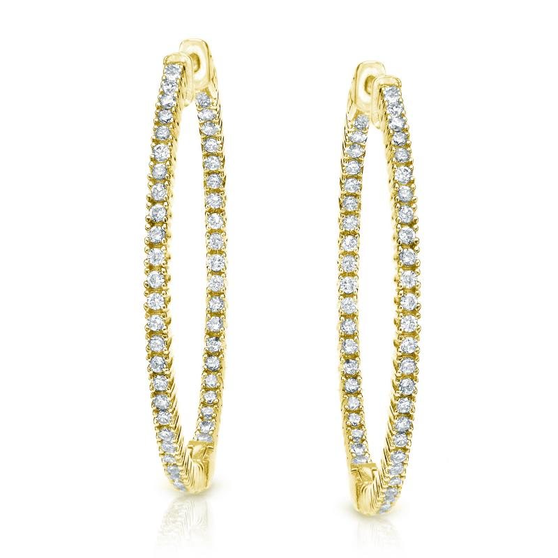 Yellow Gold Round Cut Diamond Hoop Earrings f2a923bc6d