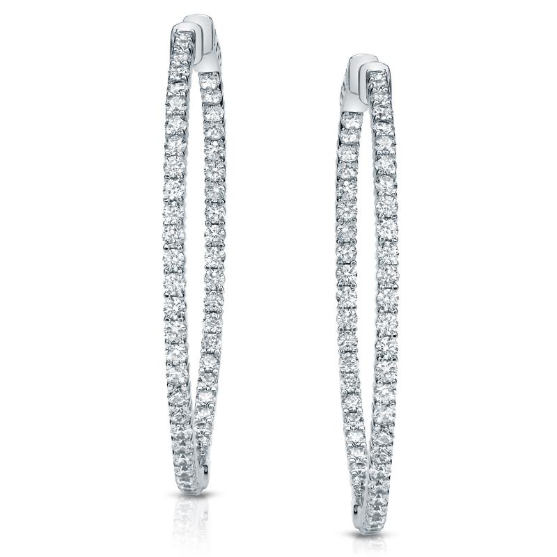 14k White Gold Shared G Setting Round Diamond Hoop Earrings 3 00 Ct Tw H I Si1 Si2 Diamondstuds