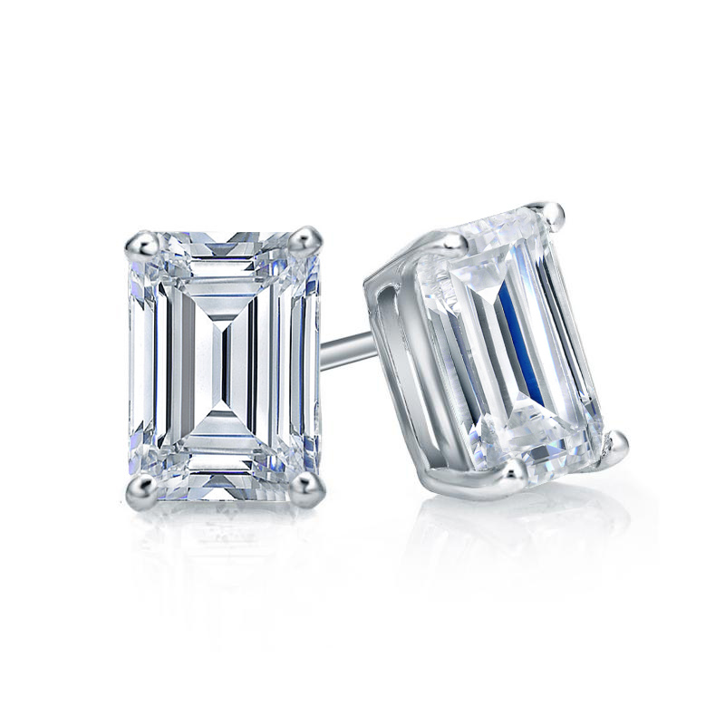 Certified 14k White Gold 4 G Basket Emerald Cut Diamond Stud Earrings 1 00 Ct Tw H Si1 Diamondstuds