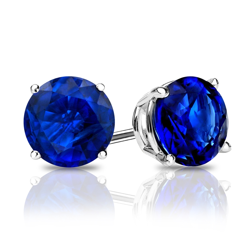 jewelry sterling bling cz color stone studs sapphire stately set crown dark earrings blue silver stud