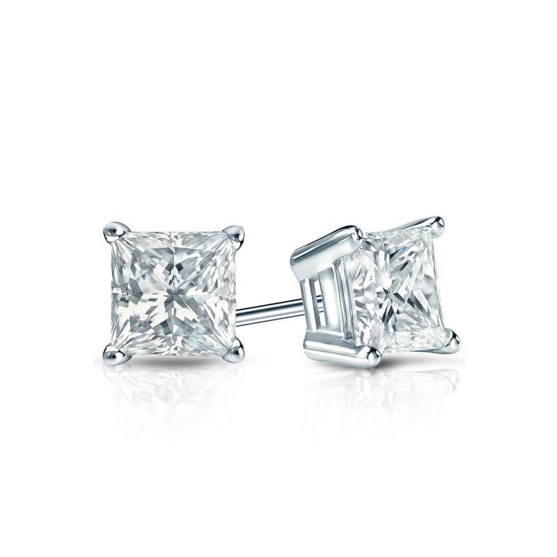 Certified 14k White Gold 4-Prong Basket Princess-Cut Diamond Stud ...