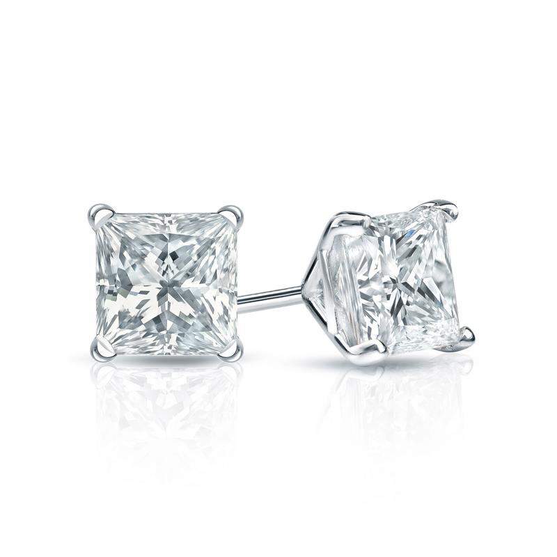 Certified Platinum 4 G Martini Princess Cut Diamond Stud Earrings 0 75 Ct Tw H I Si2 Diamondstuds