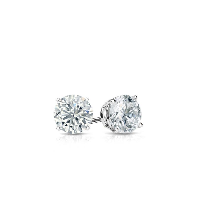 f343b8d6e Certified 14k White Gold 4-Prong Basket Round Diamond Stud Earrings 0.25 ct.  tw. (G-H, VS1-VS2) - DiamondStuds.com