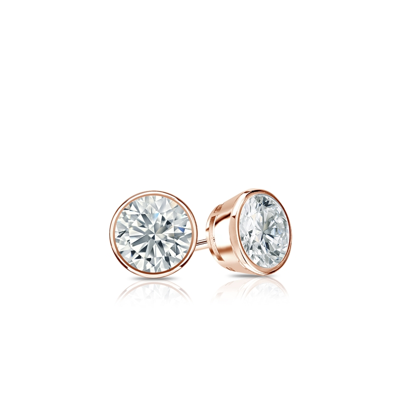 Certified 14k Rose Gold Bezel Round Diamond Stud Earrings 0 25 Ct Tw J K I2 Diamondstuds
