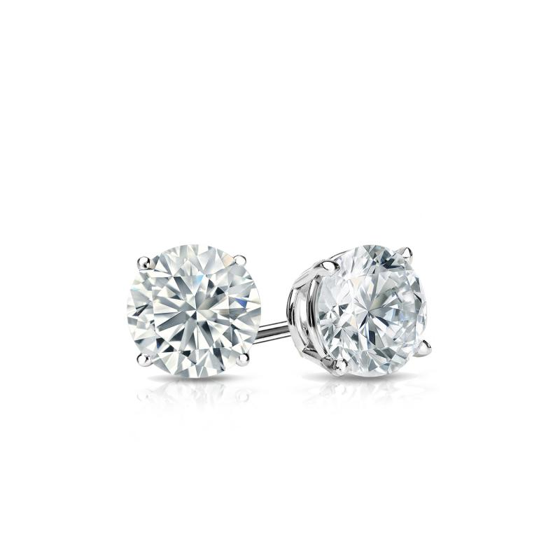 Certified 14k White Gold 4 G Basket Round Diamond Stud Earrings 0 40 Ct Tw J K I2 Diamondstuds