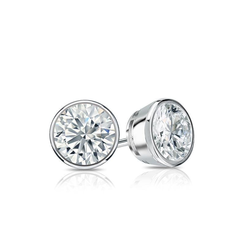 Certified 14k White Gold Bezel Round Diamond Stud Earrings 0 62 Ct Tw G H Si2 Diamondstuds