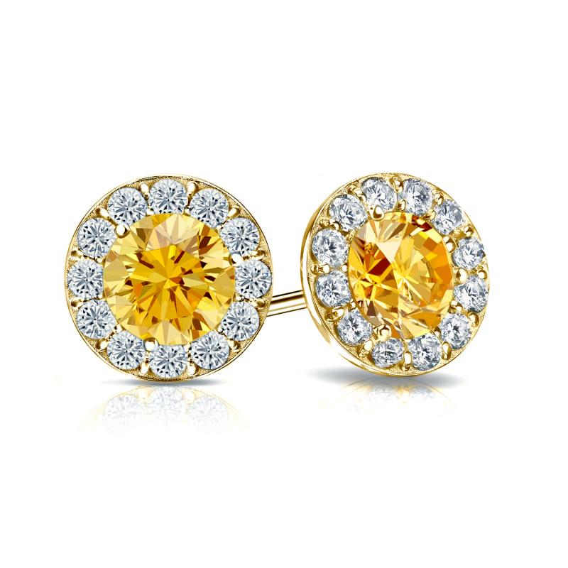 brilliant weight total round in gold set diamond stud cut earrings yellow