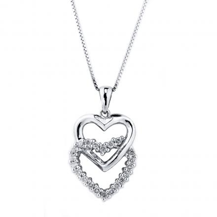 Certified 14K White Gold Double Heart Diamond Pendant Neckalce 0.50 ct.tw. (H-I,I2-I3)