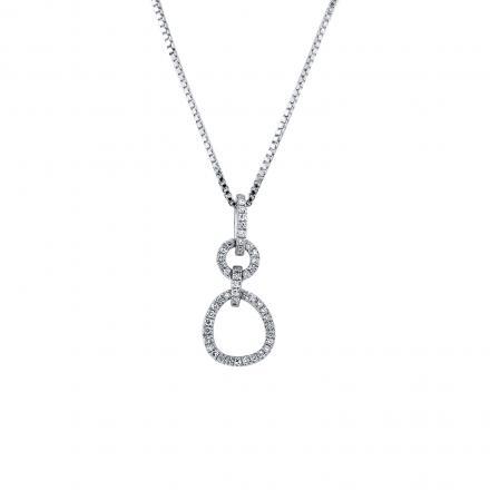 Certified 14K White Gold  Diamond Double Circle Pendant Necklace 0.15 ct.tw. (H-I,I2-I3)