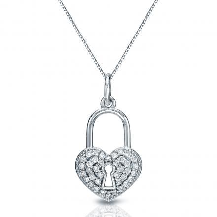 Certified 14K White Gold  Diamond Heart Lock Pendant Necklace 0.40 ct.tw. (H-I,I2-I3)