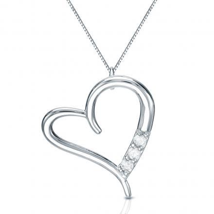 Certified 10K White Gold  Heart Pendant Neckalce 0.10 ct.tw. (J-K,I2-I3)