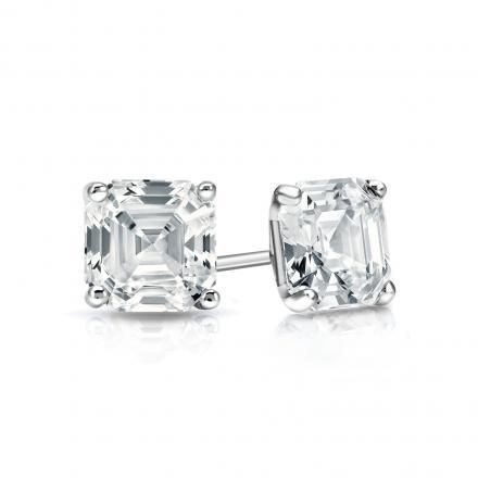 Certified 14k White Gold 4-Prong Martini Asscher Cut Diamond Stud Earrings 0.75 ct. tw. (I-J, I1-I2)
