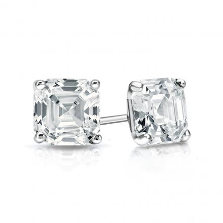 273dfe789 Certified 14k White Gold 4-Prong Martini Asscher Cut Diamond Stud Earrings  1.00 ct. tw. (G-H, VS2) - DiamondStuds.com