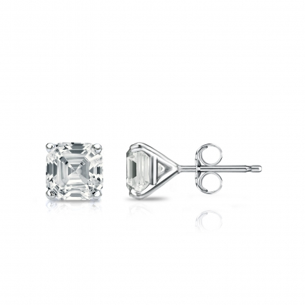 7926f5644 Certified 14k White Gold 4-Prong Martini Asscher Cut Diamond Stud Earrings  1.00 ct.