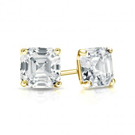 Certified 18k Yellow Gold 4-Prong Martini Asscher Cut Diamond Stud Earrings 1.00 ct. tw. (H-I, SI1-SI2)