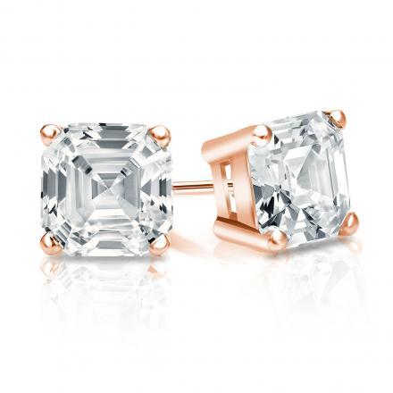 Certified 14k Rose Gold 4-Prong Basket Asscher Cut Diamond Stud Earrings 1.50 ct. tw. (I-J, I1-I2)