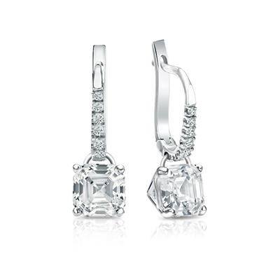 Certified 18k White Gold Dangle Studs 4-Prong Martini Asscher Cut Diamond Earrings 2.00 ct. tw. (I-J, I1-I2)