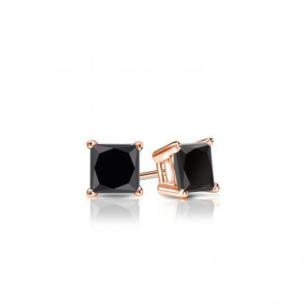 Certified 14k Rose Gold 4-Prong Basket Princess-Cut Black Diamond Stud Earrings 0.50 ct. tw.