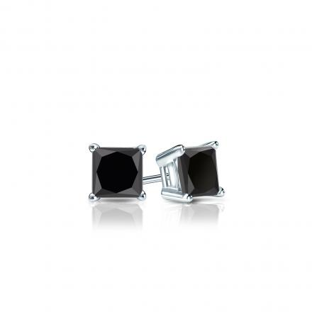 Certified 18k White Gold 4-Prong Basket Princess-Cut Black Diamond Stud Earrings 0.50 ct. tw.