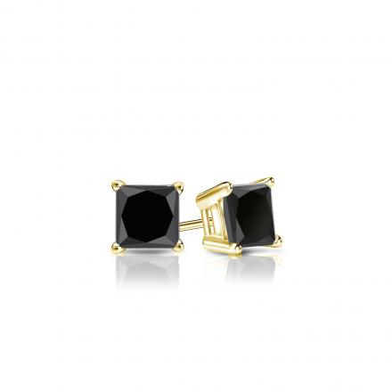Certified 18k Yellow Gold 4-Prong Basket Princess-Cut Black Diamond Stud Earrings 0.50 ct. tw.
