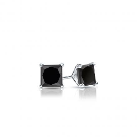 Certified 18k White Gold 4-Prong Martini Princess-Cut Black Diamond Stud Earrings 0.50 ct. tw.