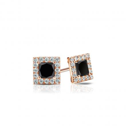 Certified 14k Rose Gold Halo Princess-Cut Black Diamond Stud Earrings 0.50 ct. tw.