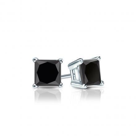 f8b19e717 Certified 14k White Gold 4-Prong Basket Princess-Cut Black Diamond Stud  Earrings 1.00 ct. tw. - DiamondStuds.com