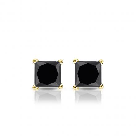 d93e99a98 Certified 18k Yellow Gold 4-Prong Basket Princess-Cut Black Diamond Stud  Earrings 1.00