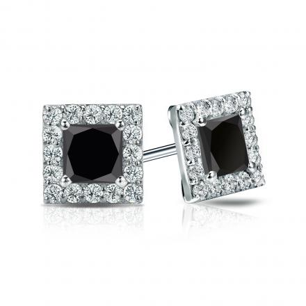 Certified 14k White Gold Halo Princess Cut Black Diamond Stud Earrings 1 50 Ct Tw