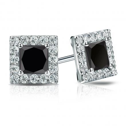 Certified 14k White Gold Halo Princess-Cut Black Diamond Stud Earrings 3.00 ct. tw.