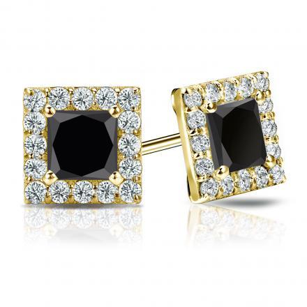Certified 14k Yellow Gold Halo Princess-Cut Black Diamond Stud Earrings 3.00 ct. tw.